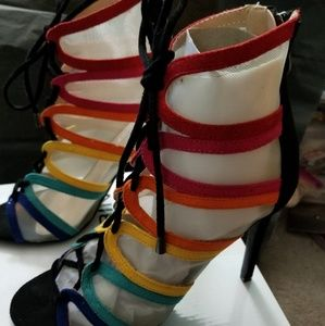 Rainbow mesh lace up booties NIB, 7.5